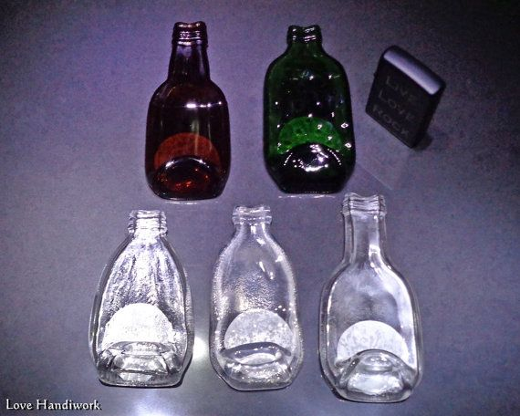 Mini Slumped Glass Bottle Ashtray by LoveHandyWork on Etsy