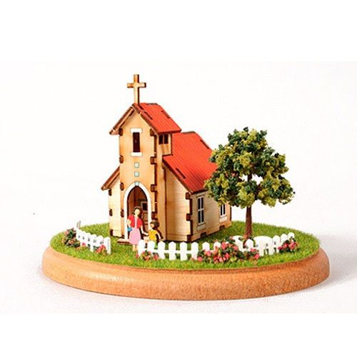 Diy Miniature Doll House Flat Packed Cardboard Kit Mini: Wooden Model House Kits Diorama Series- Mini House Church
