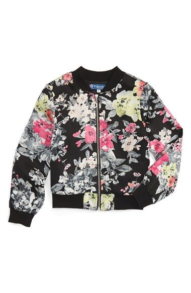 Truly Me Floral Print Bomber Jacket (Toddler Girls, Little Girls & Big…