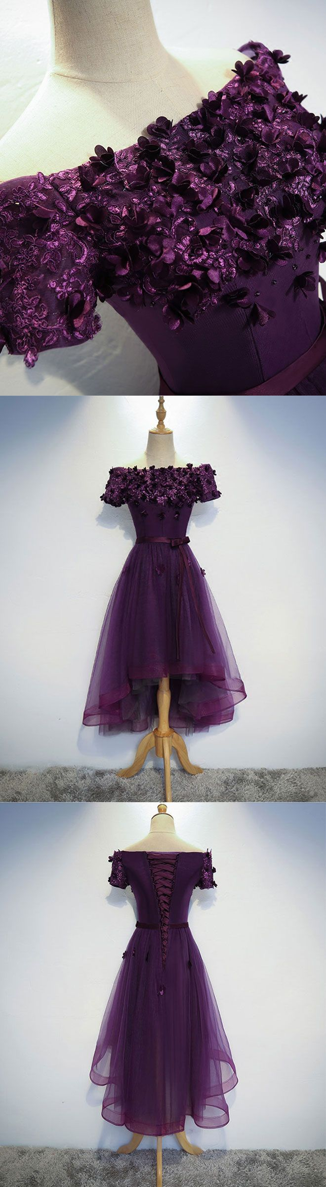 cute purple lace tulle short prom dress, high low evening dress