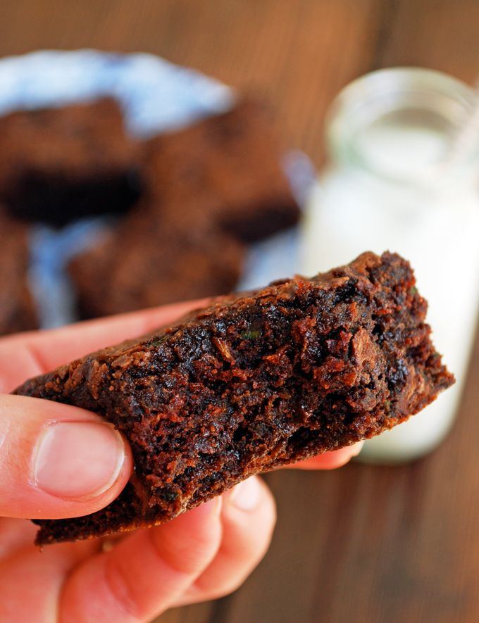 Vegan Zucchini Brownies - Rich, fudgy brownies from The Live-In Kitchen. #Vegan #Vegetarian #Chocolate