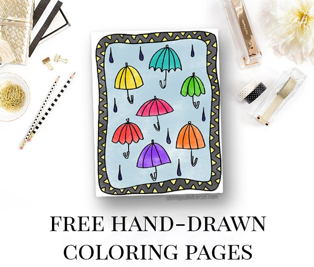 Under My Umbrellas Free Coloring Page