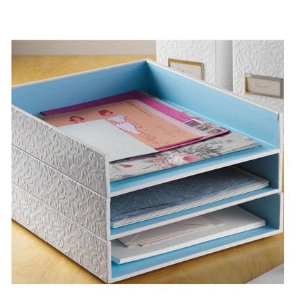 Flora Letter Tray White Blue