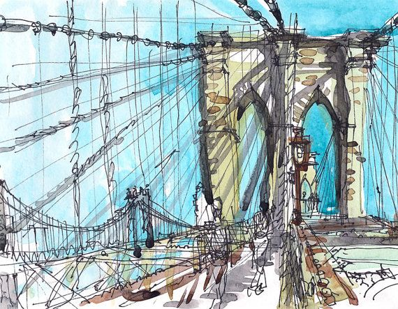 Brooklyn Bridge New York sketch watercolor sketch in blue, yellow and grey  archival art print from an original watercolor sketch