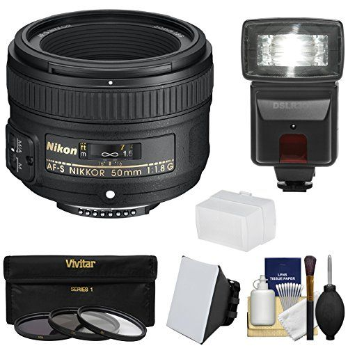 Nikon 50mm f/1.8G AF-S Nikkor Lens with 3 Filters  Flash & 2 Diffusers  Kit for D3200 D3300 D5300 D5500 D7100 D7200 D750 D810 Cameras