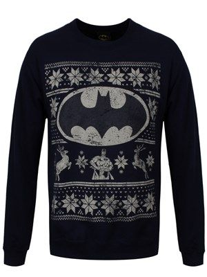 DC Comics Batman Fair Isle Logo Navy Sweatshirt