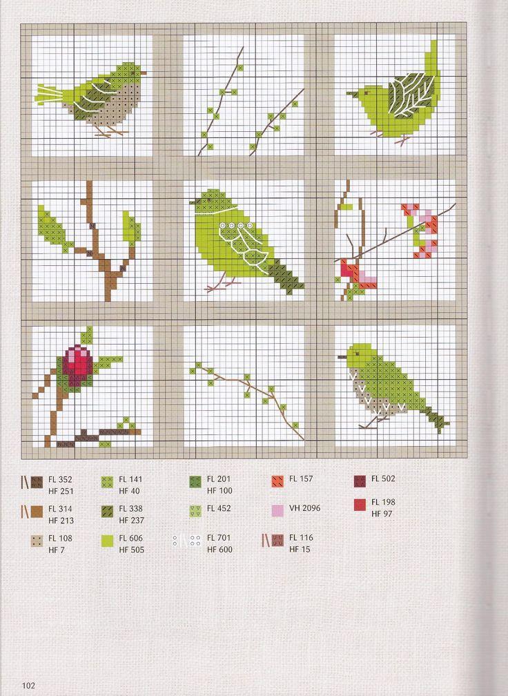 Birds through a window- cross stitch.  No pattern but like the window pane idea!