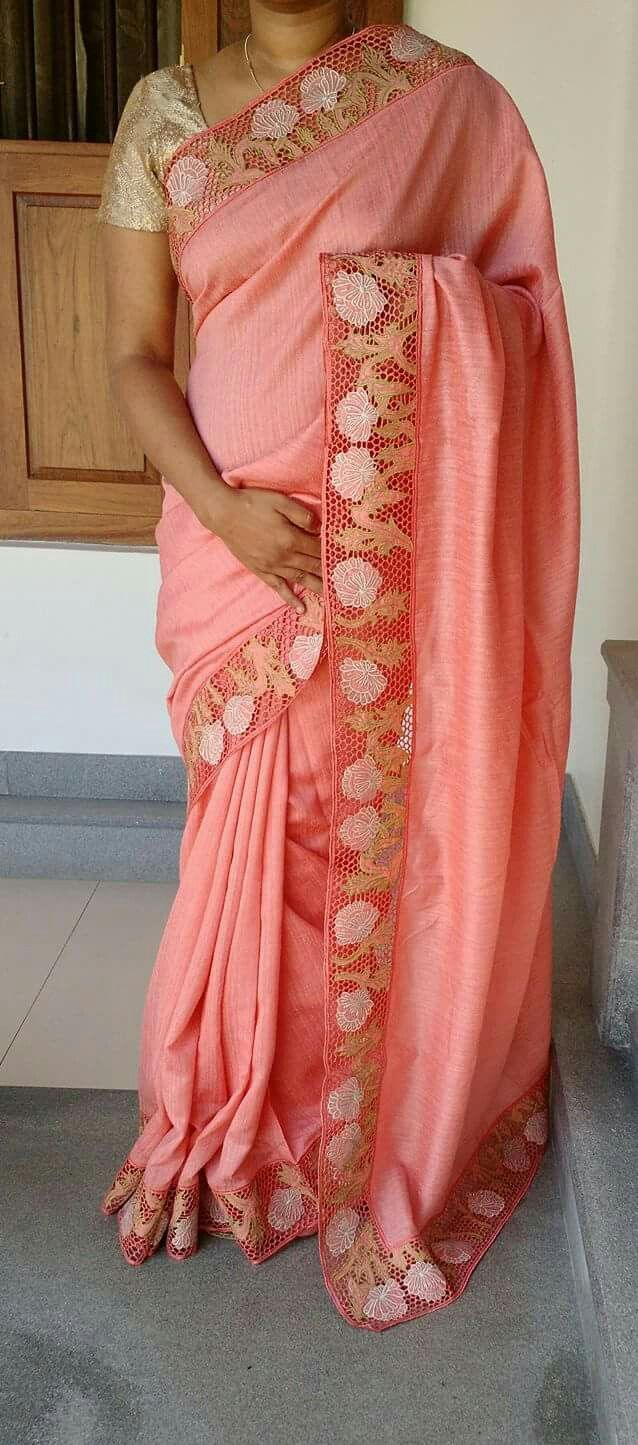 Peachee pink Saree
