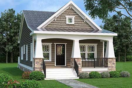 Architectural Designs 2 Bed Bungalow-style House Plan gives you one-story living, a rocking chair front porch with tapered stone columns and 900+ square feet of living. Ready when you are. Where do YOU want to build?