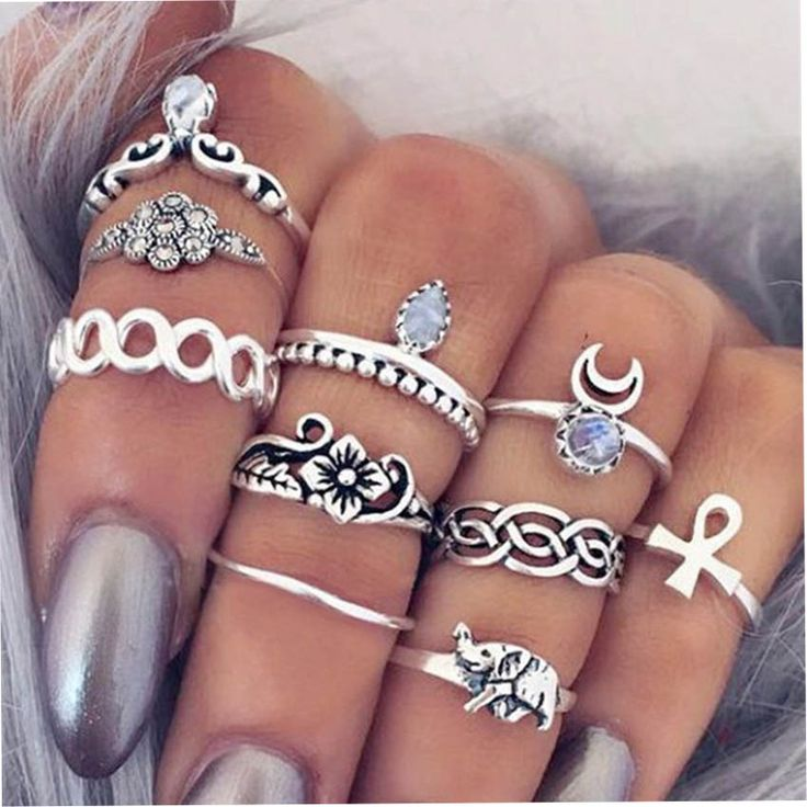 10Pcs Vintage Personality Rings Set. Item NO. JRI000432734N. #ClubFactory #Jewelry #Jewelryrings