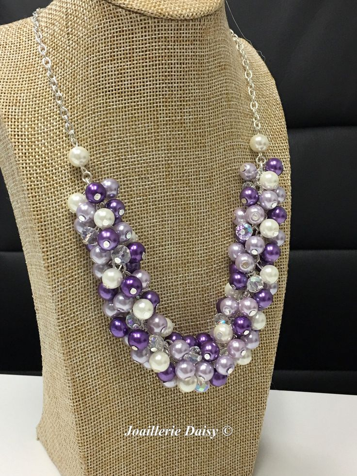 Purple Necklace Pearl Cluster Necklace Bridesmaids Gifts Purple and Ivory Necklace Wedding Jewelry Lavender Necklace Shades of Purple by JoaillerieDaisy on Etsy https://www.etsy.com/ca/listing/193861577/purple-necklace-pearl-cluster-necklace