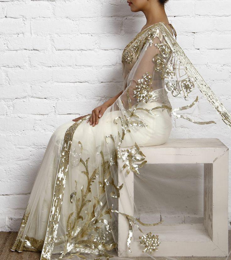 Cream Net Sequined Saree