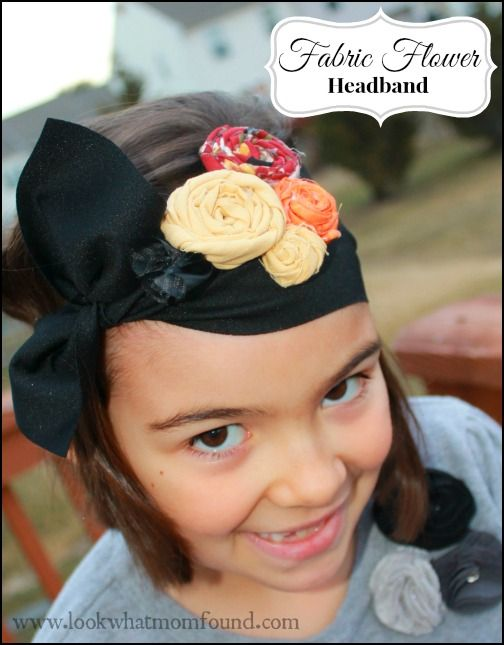 Rolled Fabric Flower Headband for Kids #craft