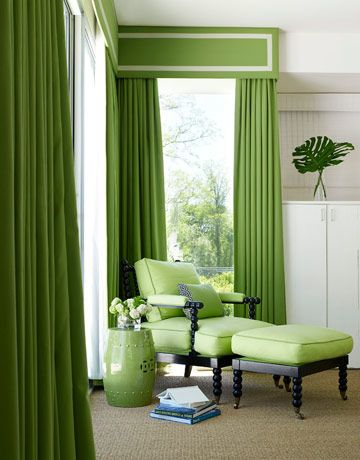Curtains are Pindler & Pindler's Maybrook in Kiwi, with French grosgrain trim from Samuel & Sons. The spool chair and ottoman are from Hickory Chair.