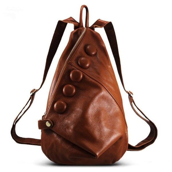 Pinshang Leather Backpack Ladies Cool Style Shoulder Bag With Zipper... ($55) ❤ liked on Polyvore featuring bags, handbags, shoulder bags, brown shoulder bag, brown leather shoulder bag, brown leather backpack, shoulder handbags and leather hand bags