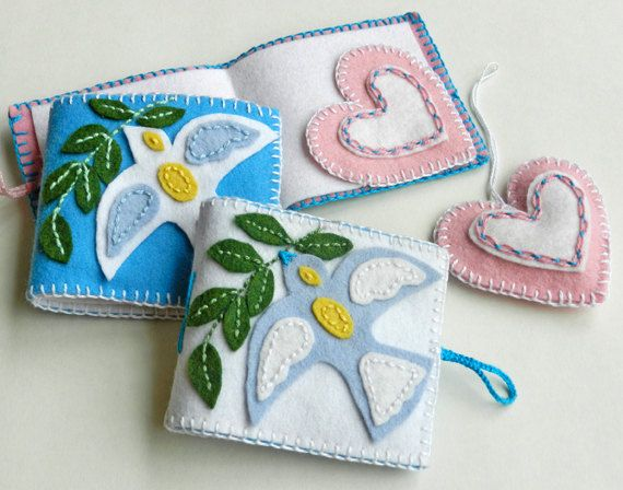 This PDF instruction/pattern includes; - Dove with Olive Branch Needle Book  - Heart Felt Ornament  - How to sew a basic Blanket Stitch    Perfect, $ Inspiration