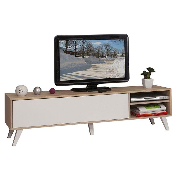 Générique Meuble TV Pieds Inclinés 140 cm Chêne/Blanc 3170A3421A01 - Achat / Vente Meuble TV sur maginea.com