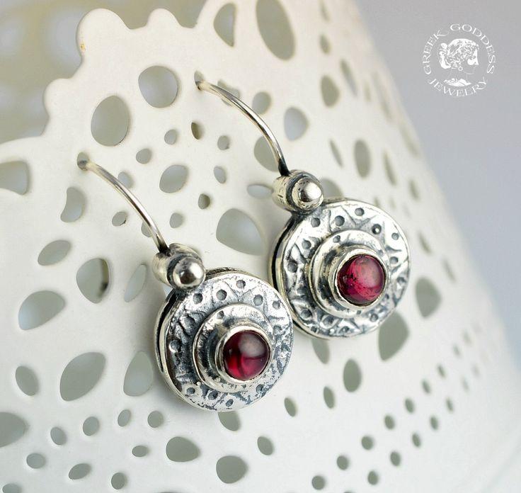 byzantine garnet silver earrings, byzantine earrings, garnet earrings, antique earrings, boho earrings, greek jewelry, byzantine jewelry by GreekGoddessJewelry on Etsy