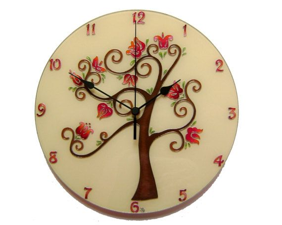 Tree of Life Large Wall Clock, Silent, Hand painted, Glass wall clock, Floral wall decor, Wedding gift