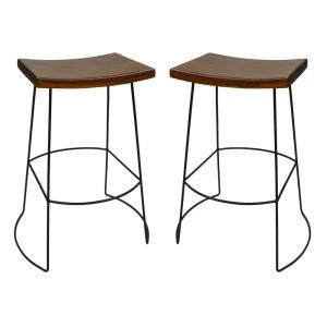 Carolina Cottage Reece 30 in. Black and Chestnut Bar Stool (Set of 2) CF1730CHETBK at The Home Depot - Mobile