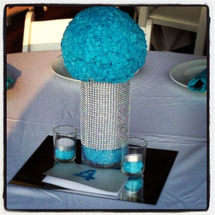 Rock candy glitz sweet sixteen centerpiece tiffany blue