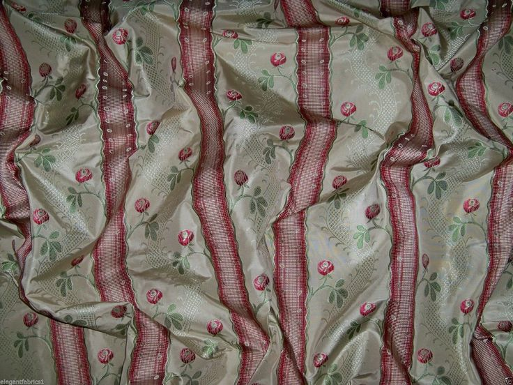CLARENCE HOUSE SHABBY ROSES FRENCH LISERE SILK DAMASK FABRIC 50 YARD BOLT CREAM