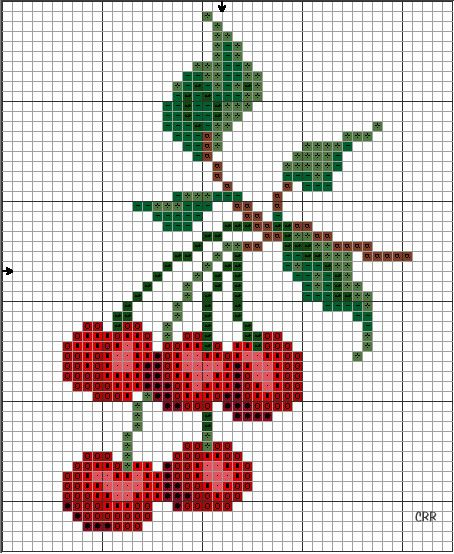 Counted cross stitch cherry pattern