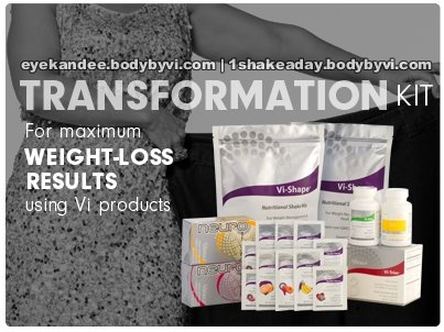 "The ""Transformation"" Kit is packed with the ultimate in shaping & nutritional ingredients to help you see & feel maximum results. This Kit contains a 30-day supply of everything needed to help transform your body for a healthier, happier you.     http://eyekandee.myvi.net"
