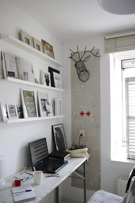 Workspace: Home Offices Desks, Offices Spaces, Deer Head, Work Spaces, Narrow Shelves, Pictures Ledge, Wall Shelves, Display Shelves, White Wall