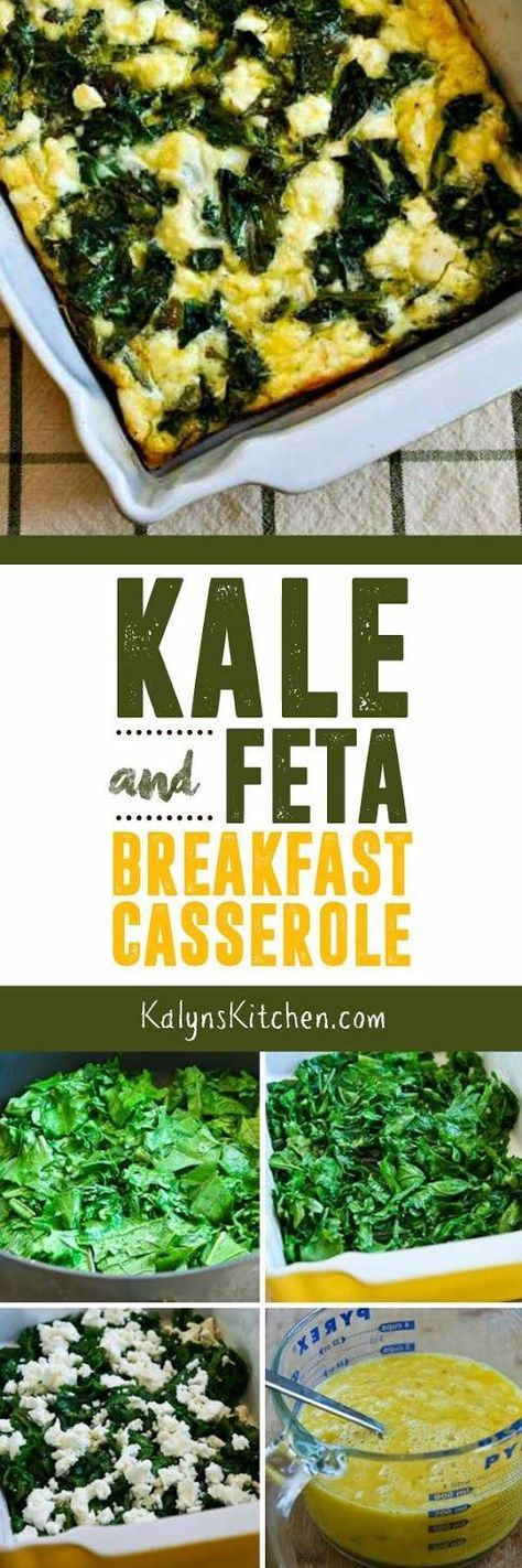 Kale and Feta Breakfast Casserole is a tasty combination that's low-carb, gluten-free, meatless, and South Beach Diet Phase One. [from KalynsKitchen.com]