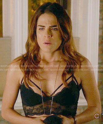 Laurel's black lace bralette on How to Get Away with Murder.  Outfit Details: https://wornontv.net/61983/ #HTGAWM