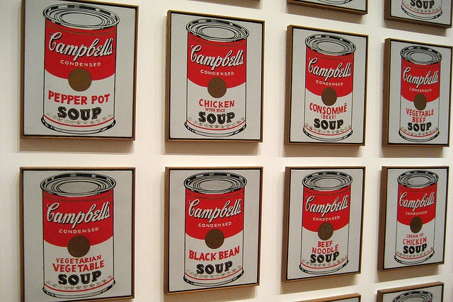 Campbells Soup Cans, Andy Warhol, 1962. Museum of Modern Art. Image: Wally Gobetz, Flickr