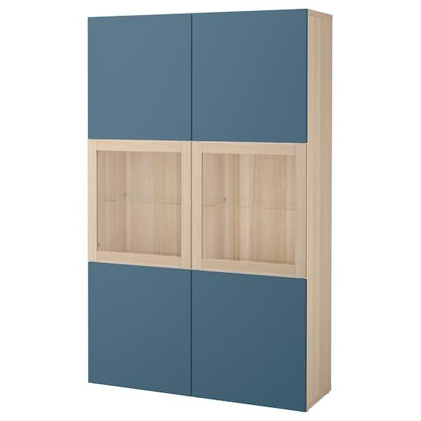 Besta Combinaison Rangement Ptes Vitrees Effet Chene Blanchi Valviken Bleu Fonce Verre Transparent I Porte Vitree Ikea Decoration Interieure Et Exterieure