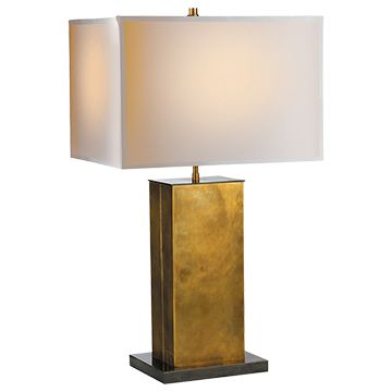 Dixon tall table lamp in hand rubbed antique brass with bronze with natural paper shade