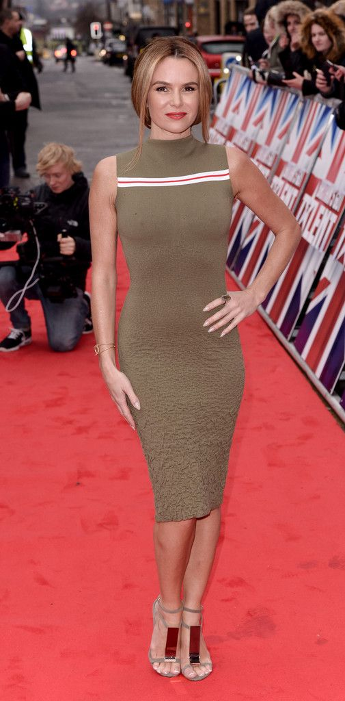 Amanda Holden.. SUNO Textured stretch-knit midi dress..