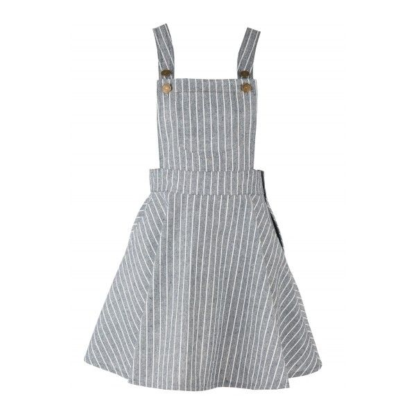 Women's Color Block Striped Adjustable Shoulder Straps Overall Dress ($29) ❤ liked on Polyvore featuring dresses, skirts, overalls, grey, grey dress, mixed print dress, pattern dress, print dress and gray dress