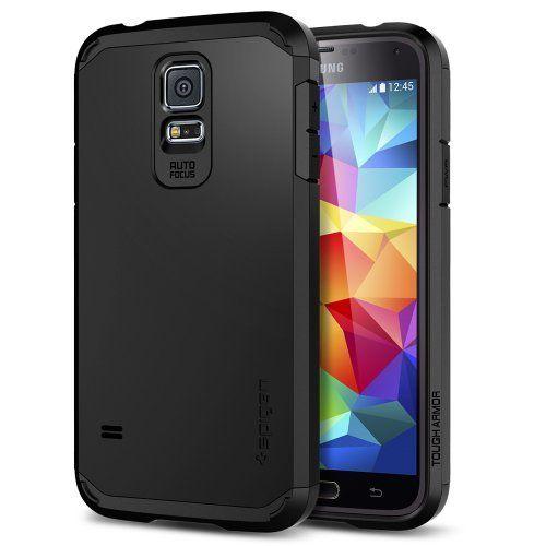 Spigen Custodia TOUGH ARMOR Case per Samsung Galaxy S5 [Protezione doppio strato EXTREME Heavy Duty - Cover protettiva] - Cover per Samsung Galaxy S5 / S 5 / SGS5 / SV - Cover nera [Smooth Black - SGP10761] di Spigen, http://www.amazon.it/dp/B00I3UWD40/ref=cm_sw_r_pi_dp_agHNtb1X3PEYE