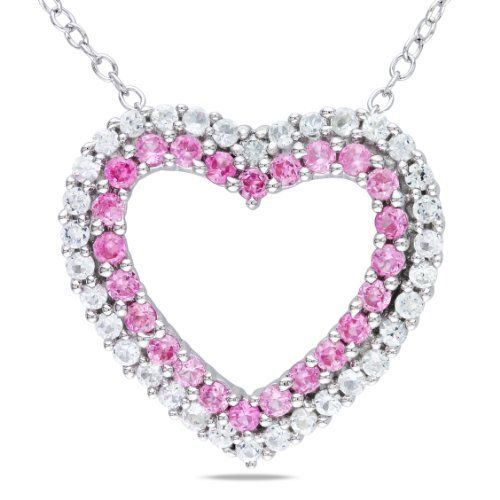 Sterling Silver Created Pink Sapphire and Diamond Heart Pendant Necklace (.02 Cttw, G-H Color, I2-I3 Clarity), 18 Inch Amazon Curated Collection. $48.99. Made in China. Save 51%!