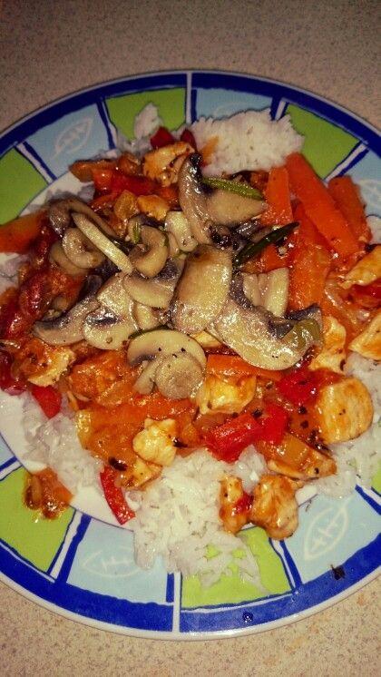 Kuřecí čína se žampiony a rýže