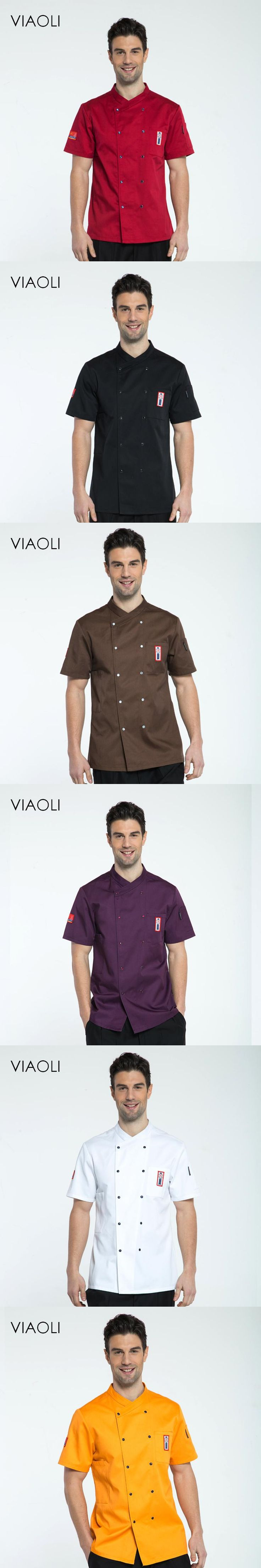 VIAOLI High Quality Chef Uniforms Clothing Short Sleeve Men Food Services Cooking Clothes 8-color Big Size Uniform Chef Jackets