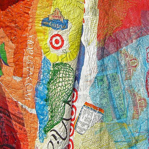 Fused plastic bag artwork.  Gloucestershire Resource Centre http://www.grcltd.org/scrapstore/