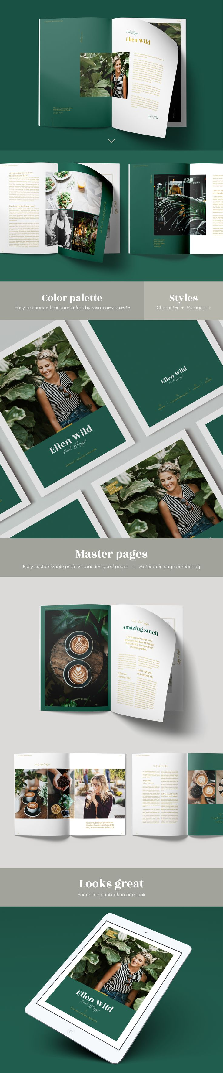 Beautiful professional InDesign template, great for your brochure, magazine, portfolio, lookbook or also for recipe book. It has nice modern style, with eye catching page layouts.   . . . . #magazine #template #indesigntemplate #brochure #creativemarket #portfolio #lookbook #foodblogger #recipebook #indesign #mirazz #graphicdesign #womandesign #grid #layoutdesign #layout #editorial #editorialdesign