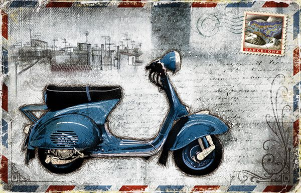 JF_0078_GR1 Cuadro Vespa Azul _ Postal Barcelona Vintage Blanco
