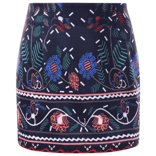 Graphic Tight Micro Skirt (189.075 IDR) ❤ liked on Polyvore featuring skirts and dark blue skirt