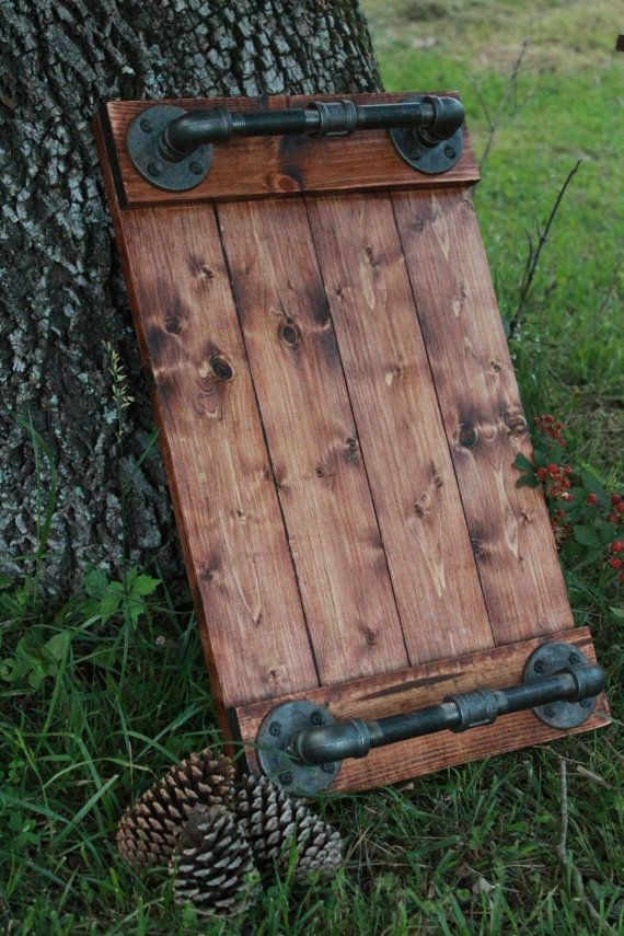 Industrial Serving Tray Pine and Black Iron Tray by cmhomedecor1