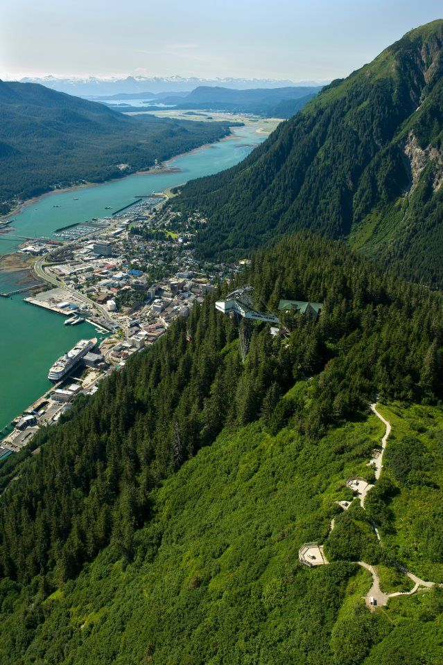 Juneau from the shoulder of Mt. Roberts.  A good spot to launch your para-sail on a sunny day (if you are freaking crazy!) #Juneau #Alaska