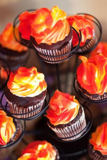 flame colored frosting on cupcakes