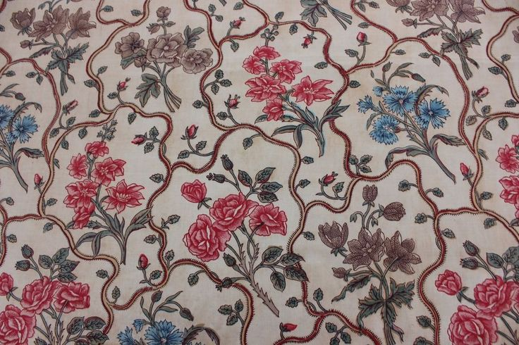 Beautiful old hand blocked and hand color-painted textile. Very strong cotton/linen mix and can be safely used for home dec or sewing projects. This fabric has one selvedge intact. I have more of this fabric but most of it is not in this excellent condition. | eBay!