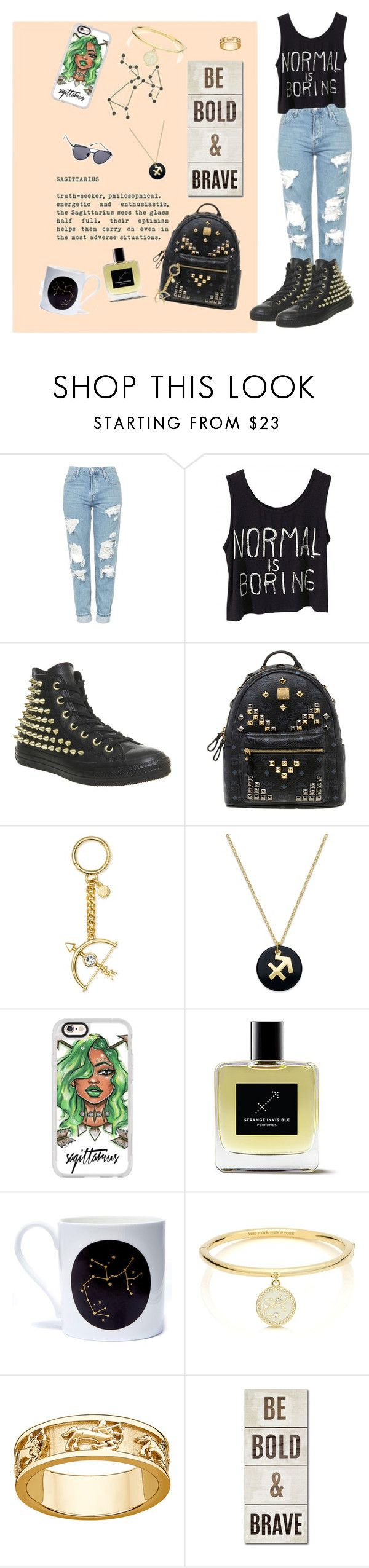 """""""Sagittarius"""" by im-angelacoleen ❤ liked on Polyvore featuring Topshop, Converse, MCM, Michael Kors, Giani Bernini, Casetify, Lollipop Designs, Kate Spade and Trademark Fine Art"""