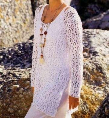 Schemi uncinetto: una tunica bianca per l'estate | PourFemme Tempo Libero